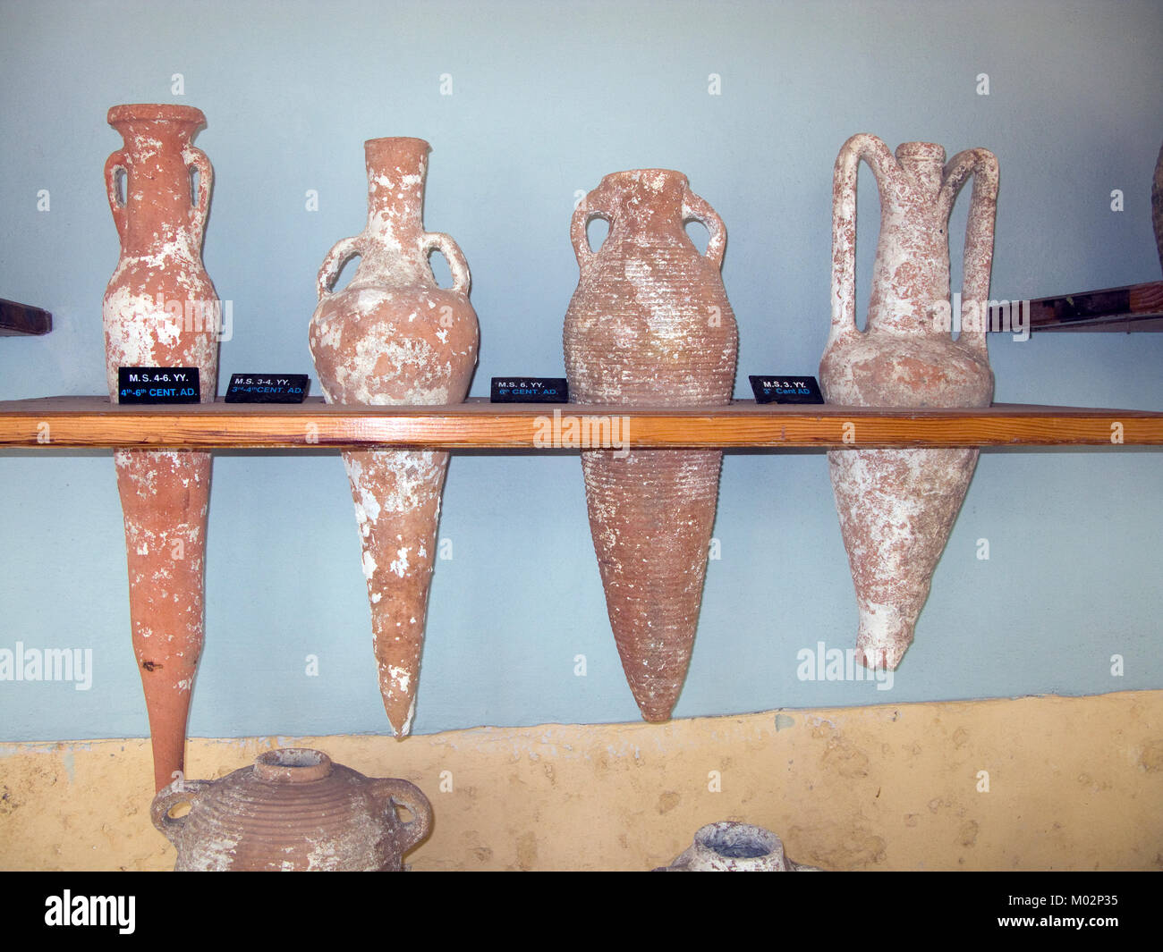 Amphoras, underwater findings at Aegean coast, underwater archaeology museum at Bodrum, Turkey, Mediteranean sea, - Stock Image