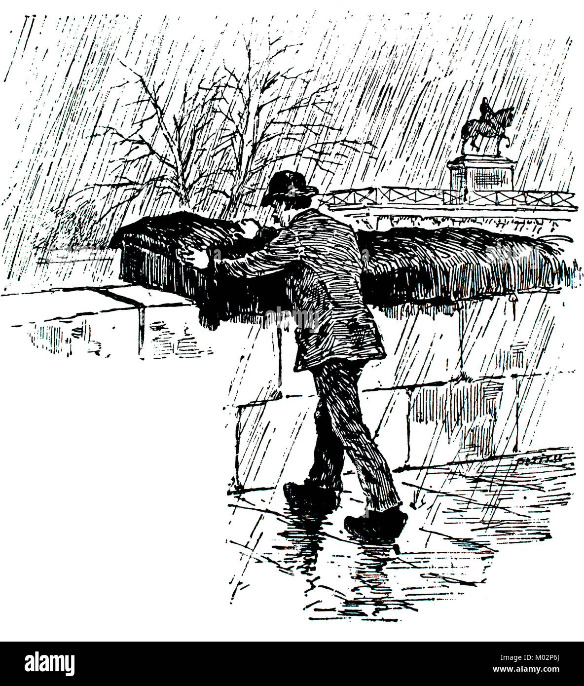 Book hunting in Paris, illustration by Elliot Stock from 1893 The Studio an Illustrated Magazine of Fine and Applied - Stock Image
