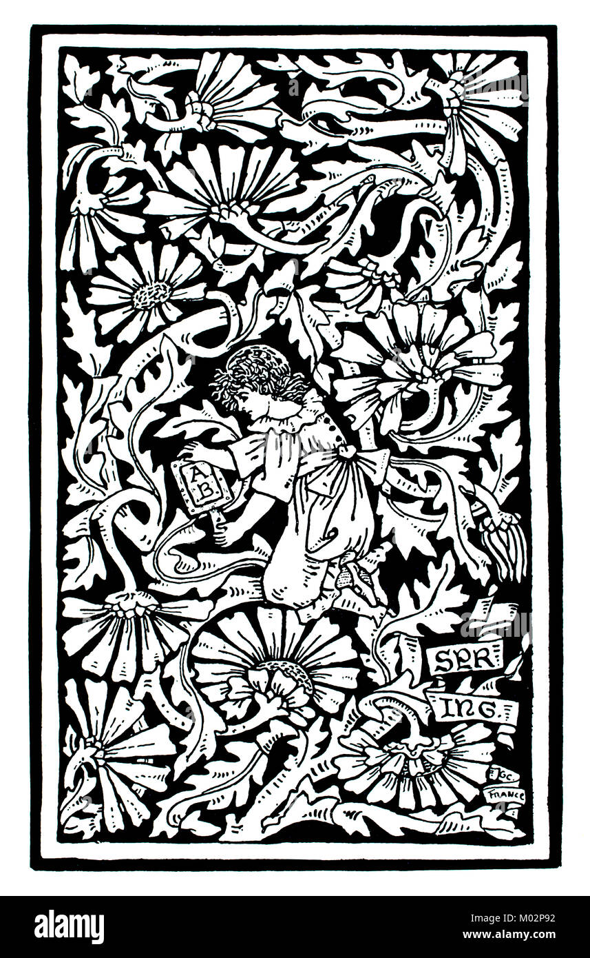 Spring, woodcut design, by English jewellery and metalwork designer Georgie Cave France (Gaskin), from 1893 The - Stock Image