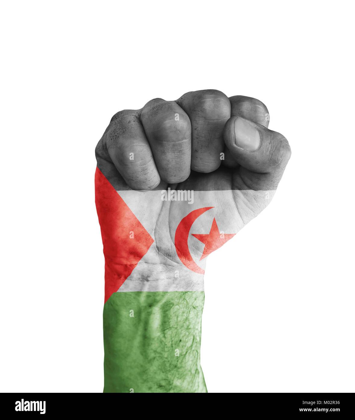 Flag of Sahrawi Arab Democratic Republic painted on human fist like victory symbol - Stock Image