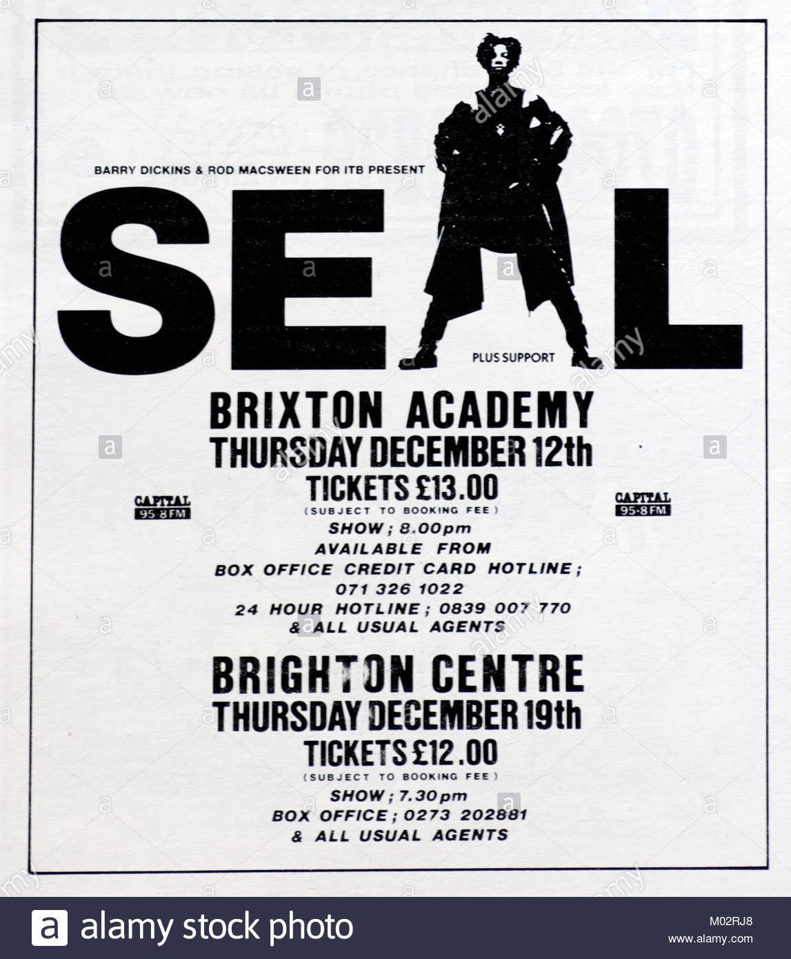 Magazine advert with UK tour dates for Seal 1992 - Stock Image