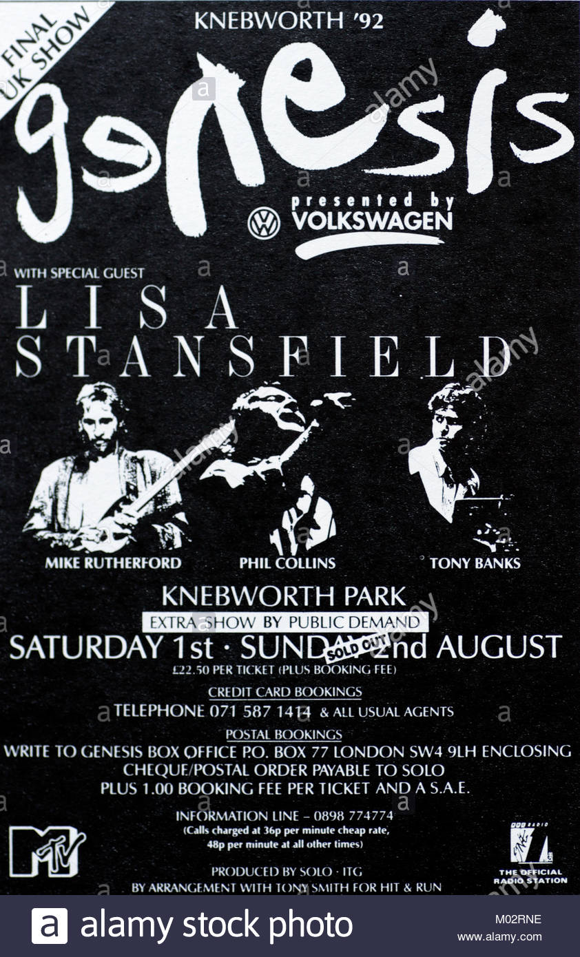 Magazine advert for a Genesis gig at Knebworth 1992 - Stock Image