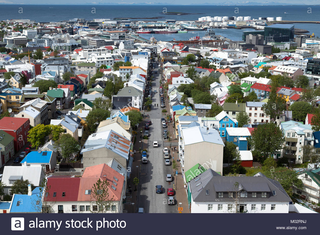 bird's eye view of Reykjavik with concert hall HARPA and the main road Skólavörðustígur - Stock Image