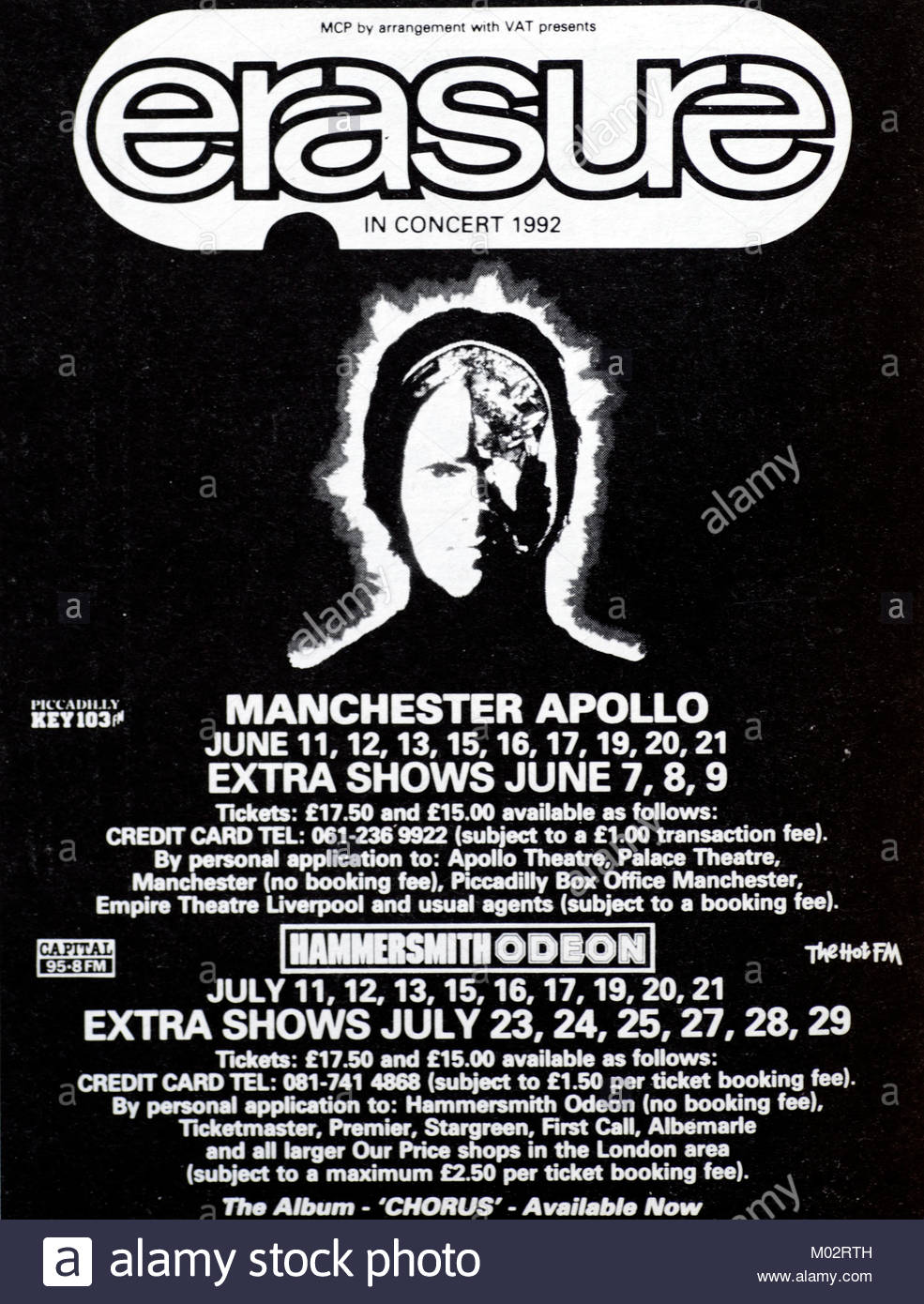 Magazine advert with UK tour dates for Erasure 1992 - Stock Image
