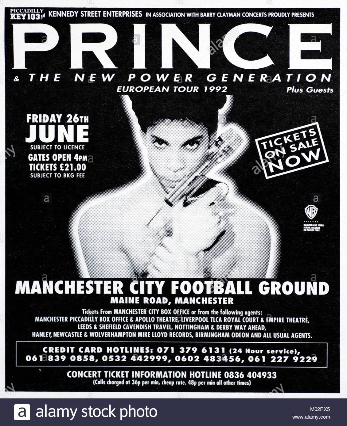 Magazine advert with UK tour dates for Prince 1992 - Stock Image