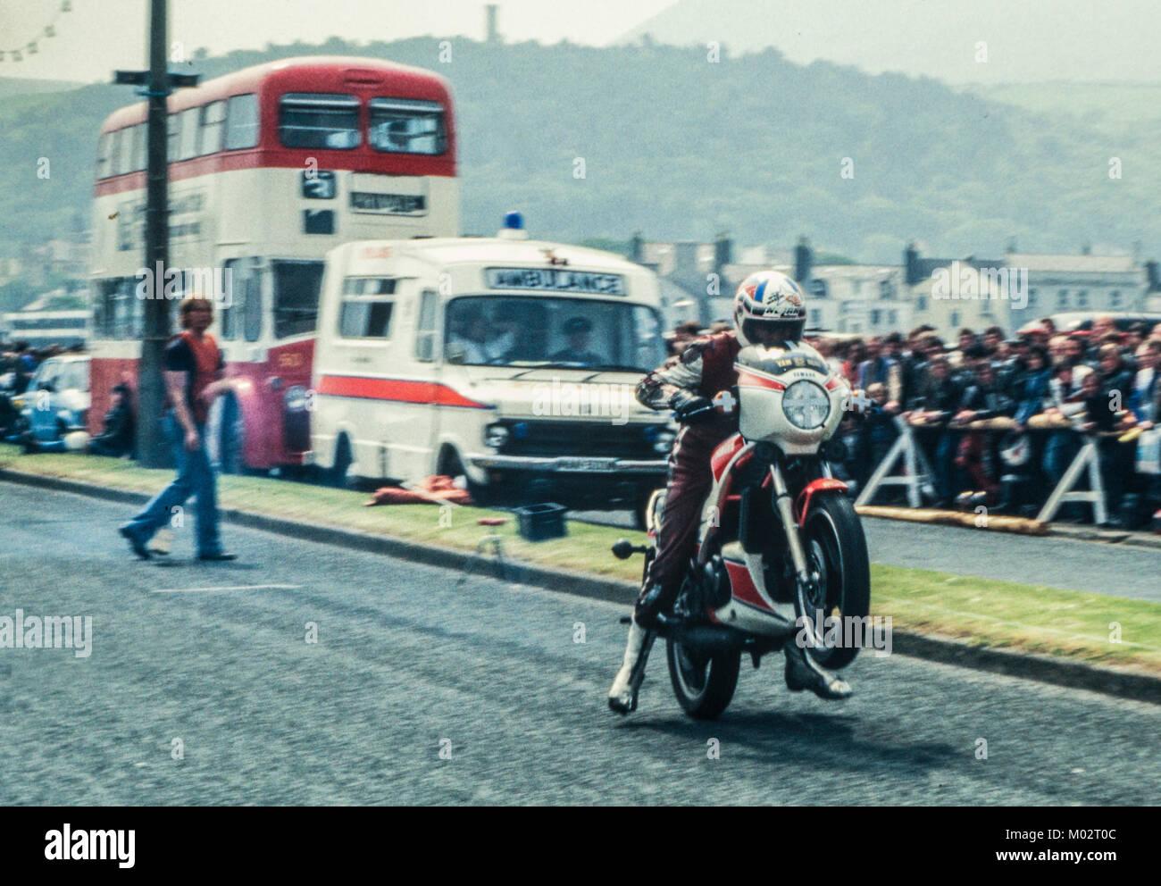 A Yamaha RD350 LC pulls a wheelie at the Ramsey sprint, Isle