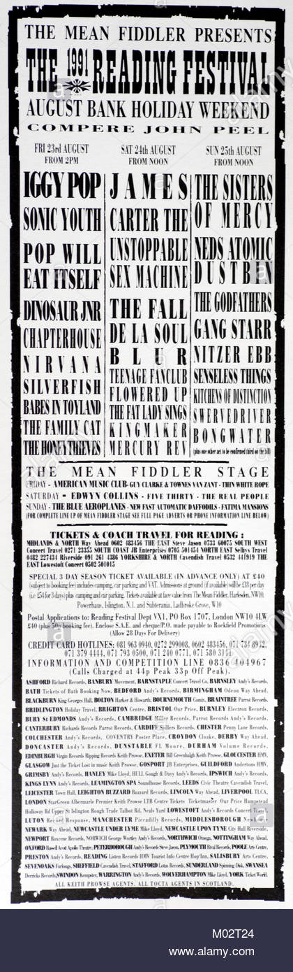 Magazine Advert With Groups Attending The Reading Festival 1991
