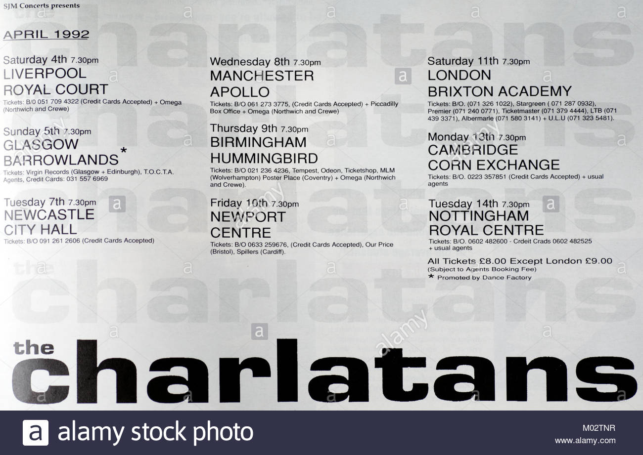 Magazine advert with UK tour dates for The Charlatans 1992 - Stock Image