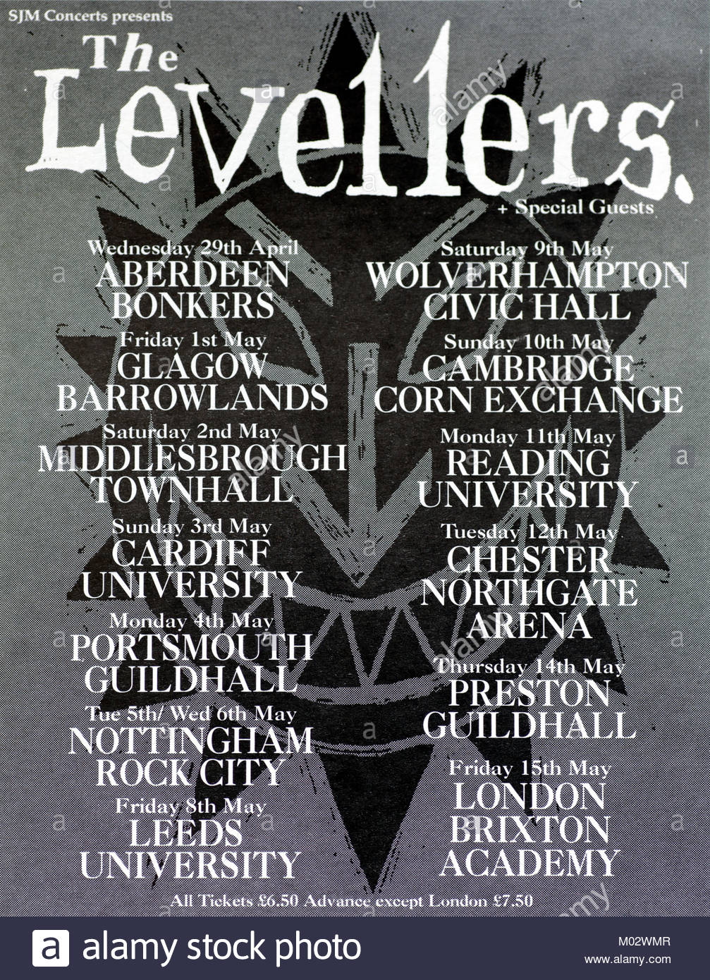 Magazine advert with UK tour dates for The Levellers 1992 - Stock Image