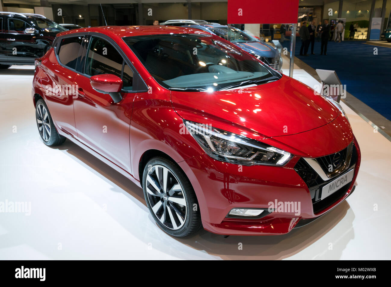 BRUSSELS - JAN 10, 2018: Nissan Micra car showcased at the Brussels Motor Show. Stock Photo