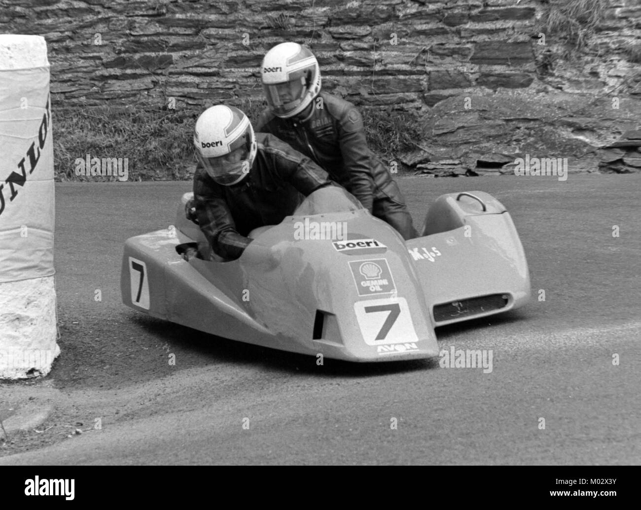Derek Plummer and Brian Harris, Yamaha, sidecar race B,TT June 1988, Isle of Man Stock Photo