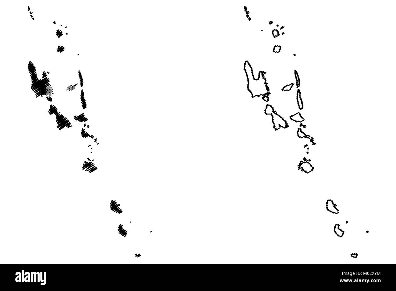 Vanuatu map vector illustration, scribble sketch Republic of Vanuatu, New Hebrides, - Stock Image