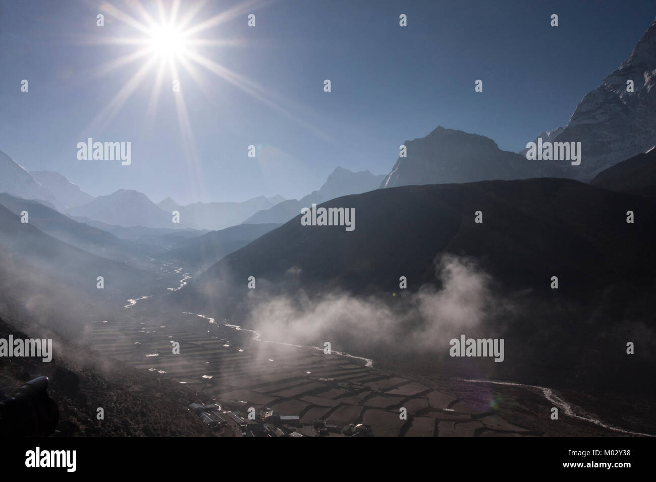 Sunrise seen from Lobuche, Everest region of Nepal. - Stock Image