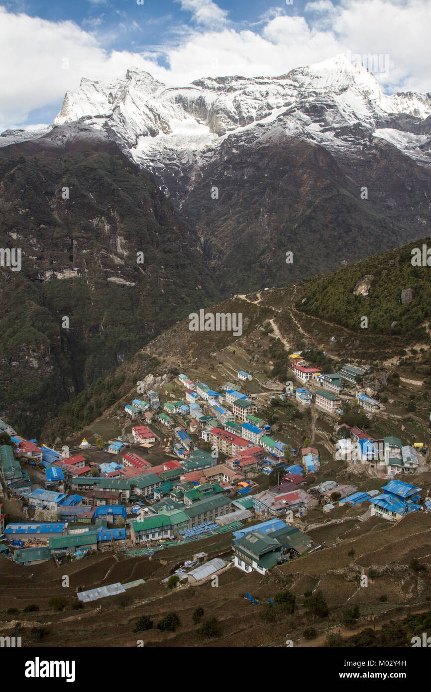 A view of Namche bazzar on the way to Everest in Nepal. - Stock Image