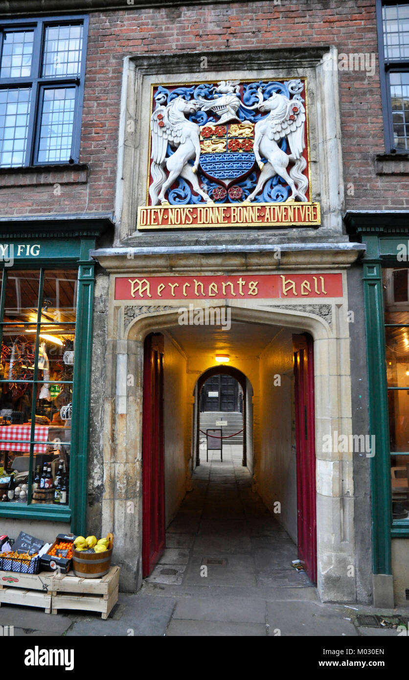 merchants hall, york, yorkshire entrance on fossgate - Stock Image