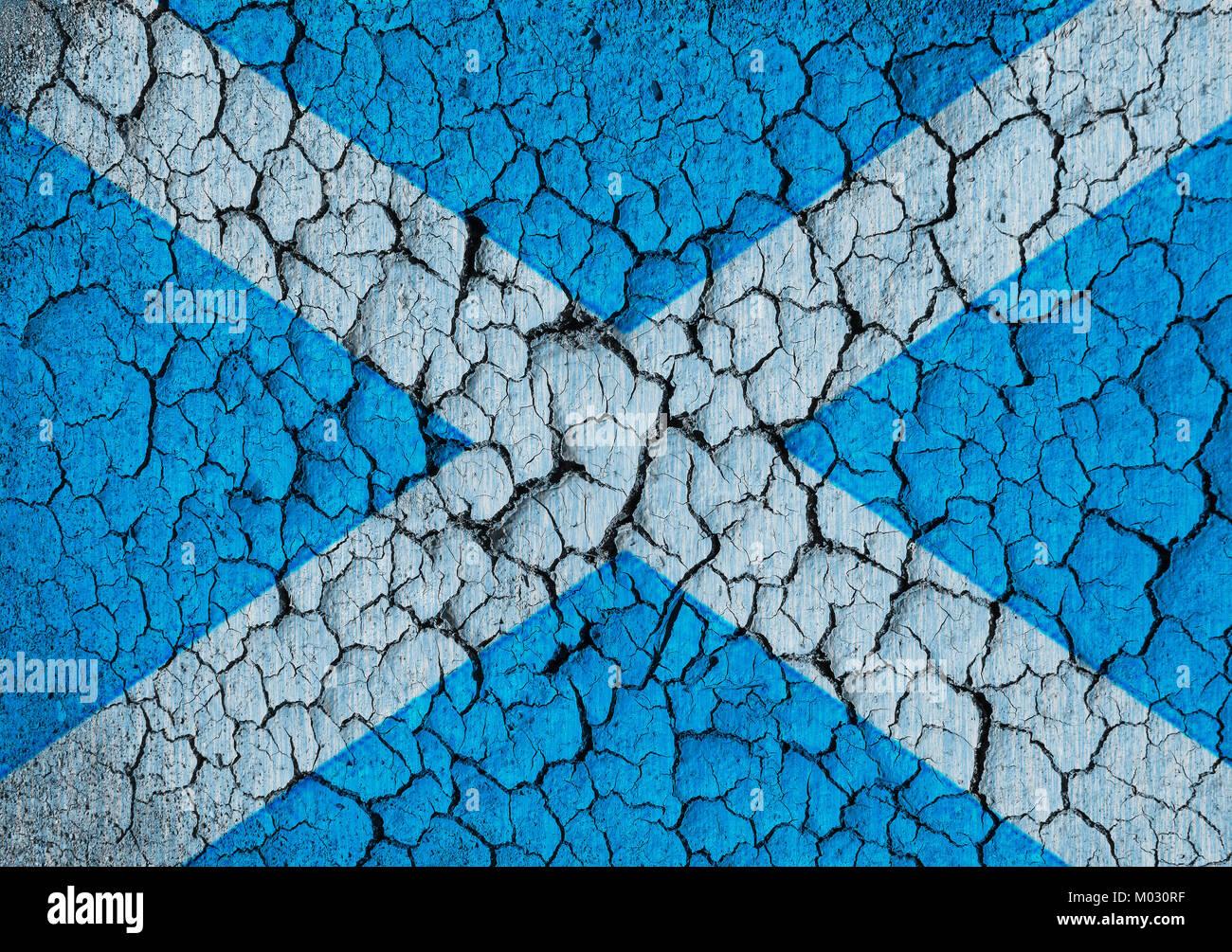 Scottish flag on a cracked grunge background - Stock Image