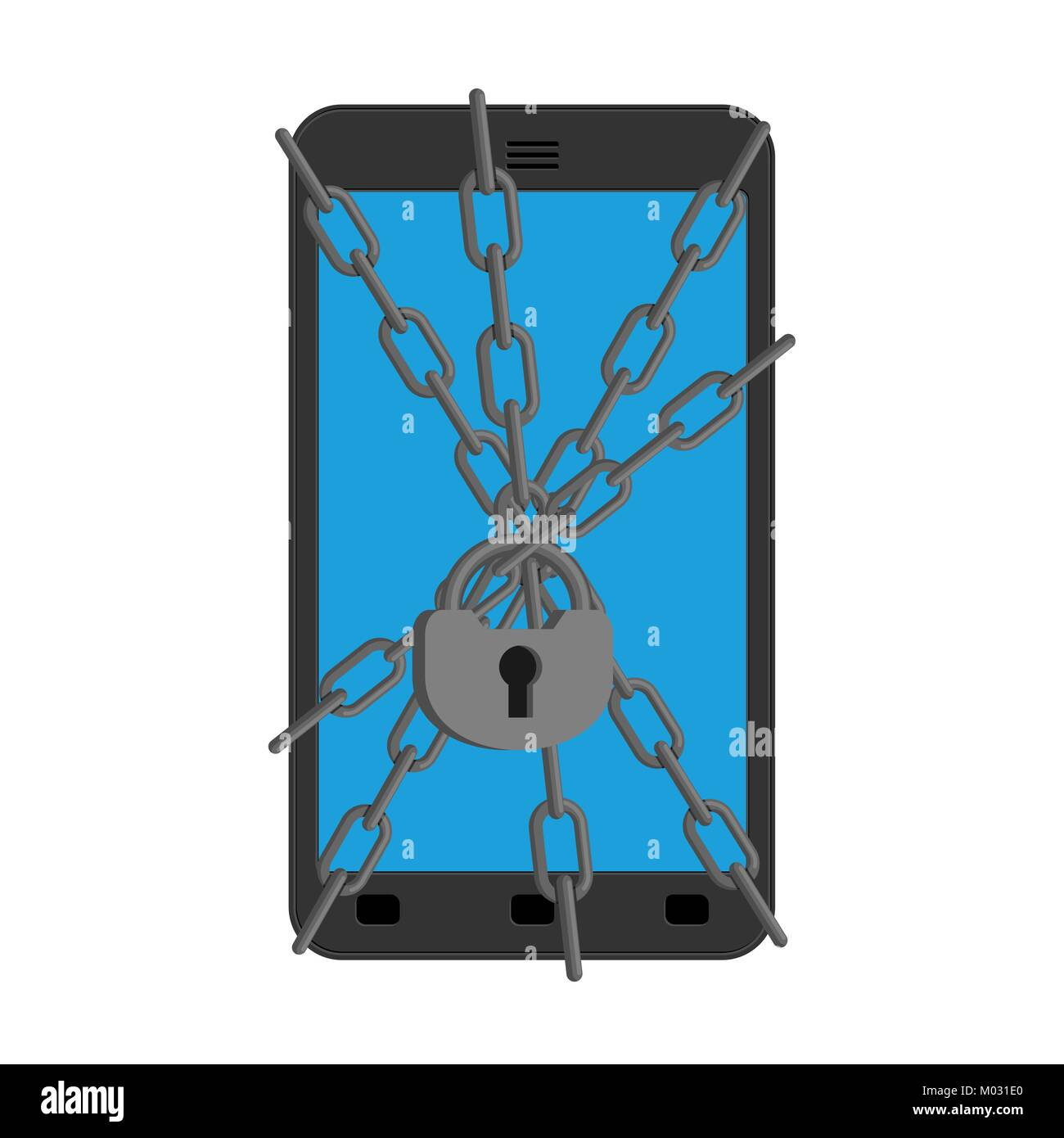 Smartphone protection. Chain and lock on phone. Gadget Reliable protection against viruses. Vector illustration - Stock Image