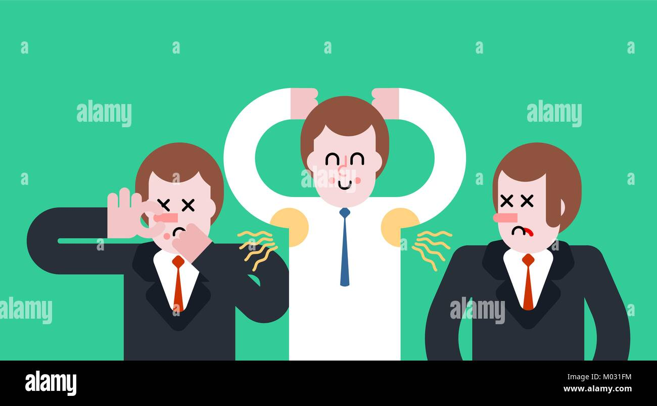 Smell of sweat. Smelly armpit. Stink. Man Close nose. Guy Stubs. Vector illustration - Stock Vector