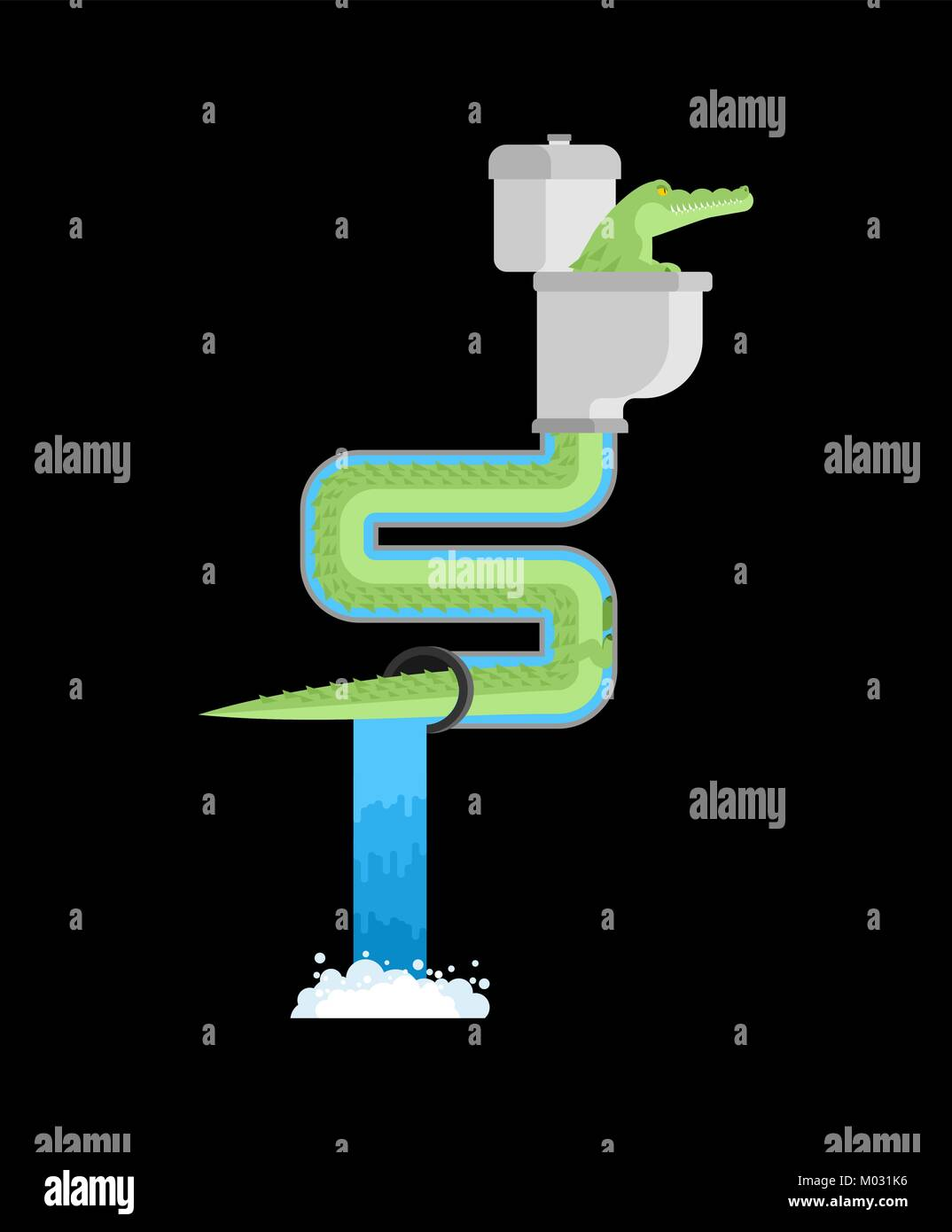Crocodile in sewer. Alligator in sewerage pipe. Predator animal. City legend. Toilet and Water Supply and Sewerage Stock Vector