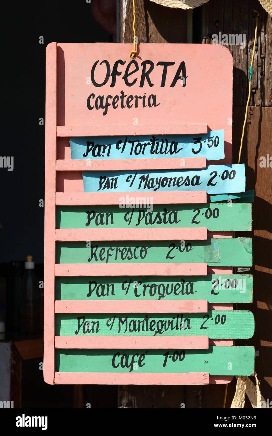 Cafe La Habana Menu