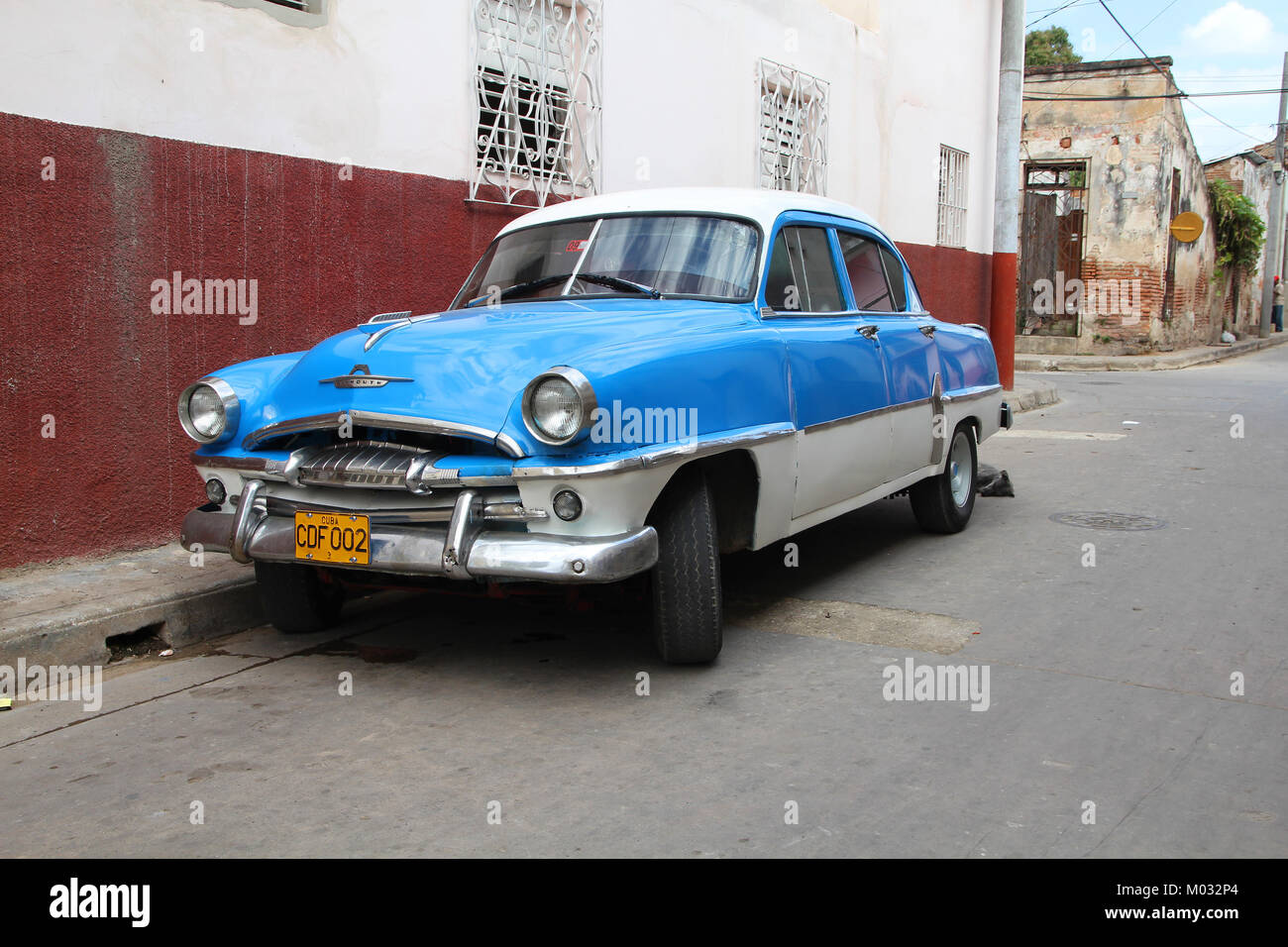 CAMAGUEY - FEBRUARY 18: Classic Plymouth car parked in the street on ...