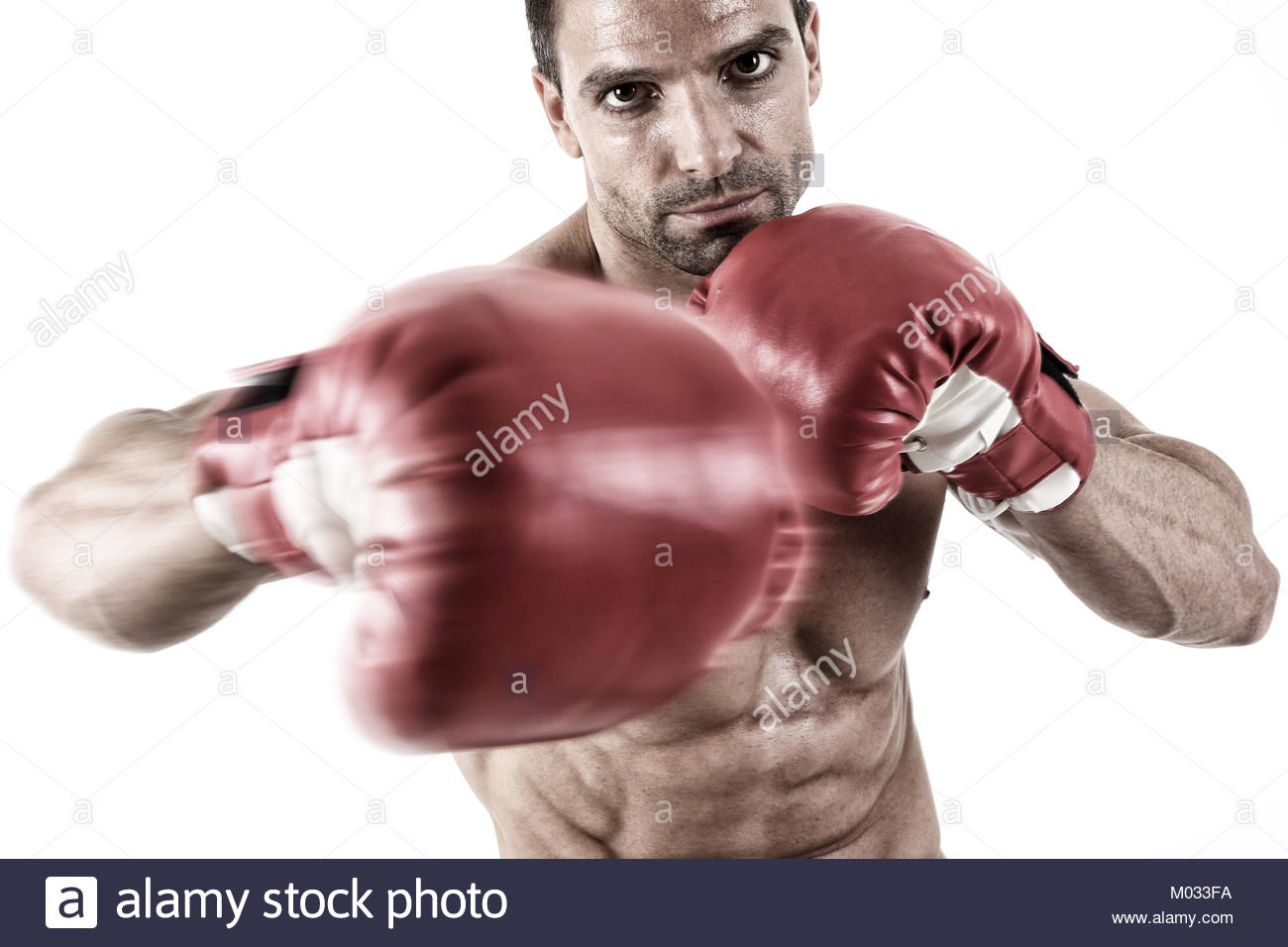Muscular fighter punching in front of white background - Stock Image
