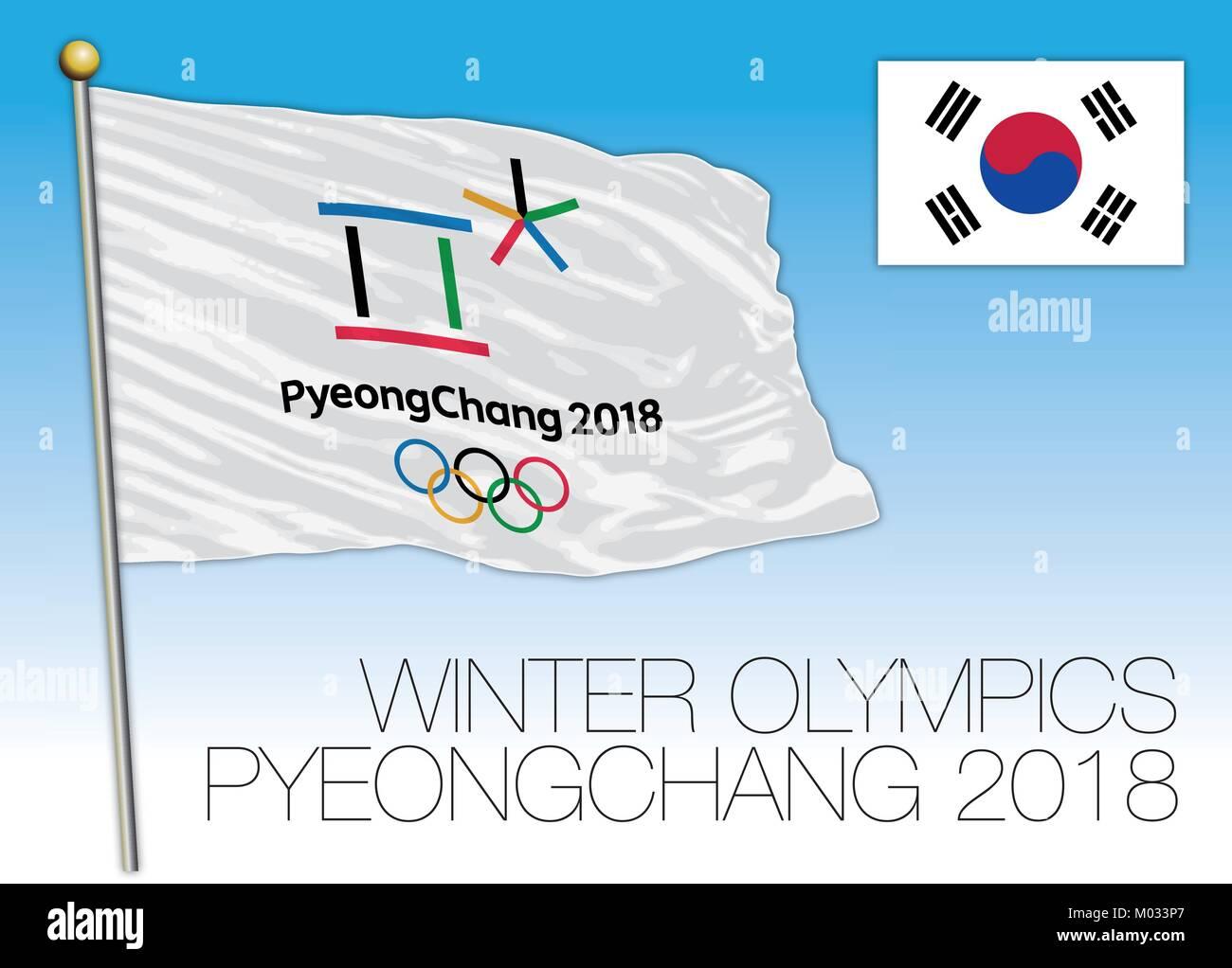 PYEONGCHANG, SOUTH KOREA, FEBRUARY 2018, Olympic winter games 2018 Pyeongchang flag, South Korea - Stock Vector