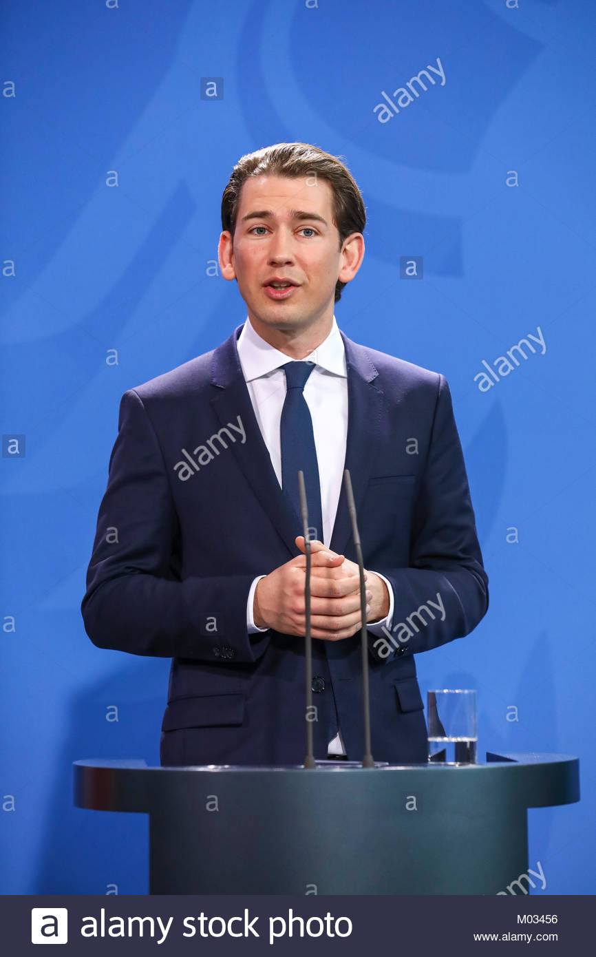 Presseunterrichtung nach dem Gespräch mit der Bundeskanzlerin durch den Bundeskanzler der Republik Oesterreich, - Stock Image
