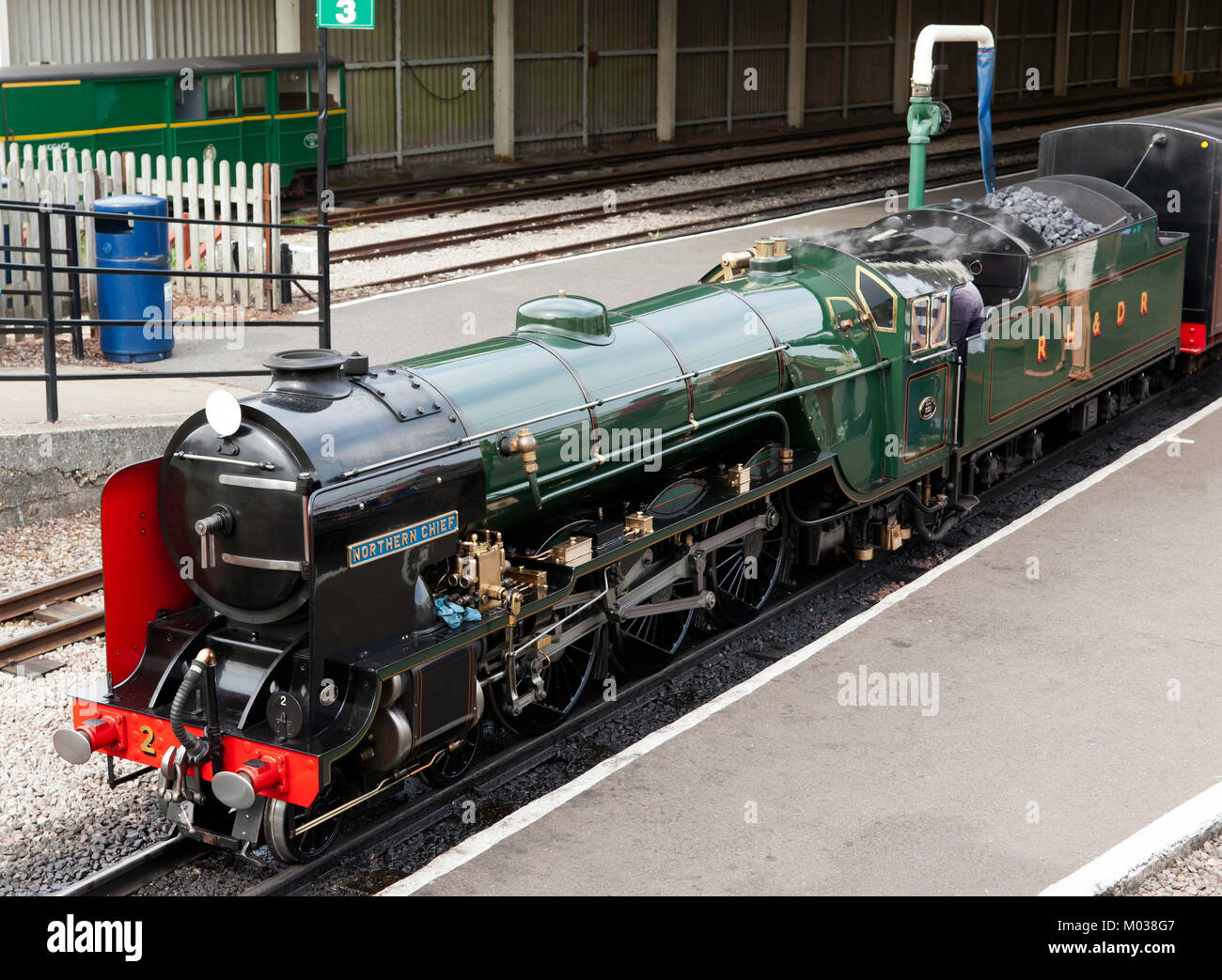 The Steam Locomotive (Engine No.2 ),  Northern Chief, at New Romney Station, RH&D Railway, Kent - Stock Image