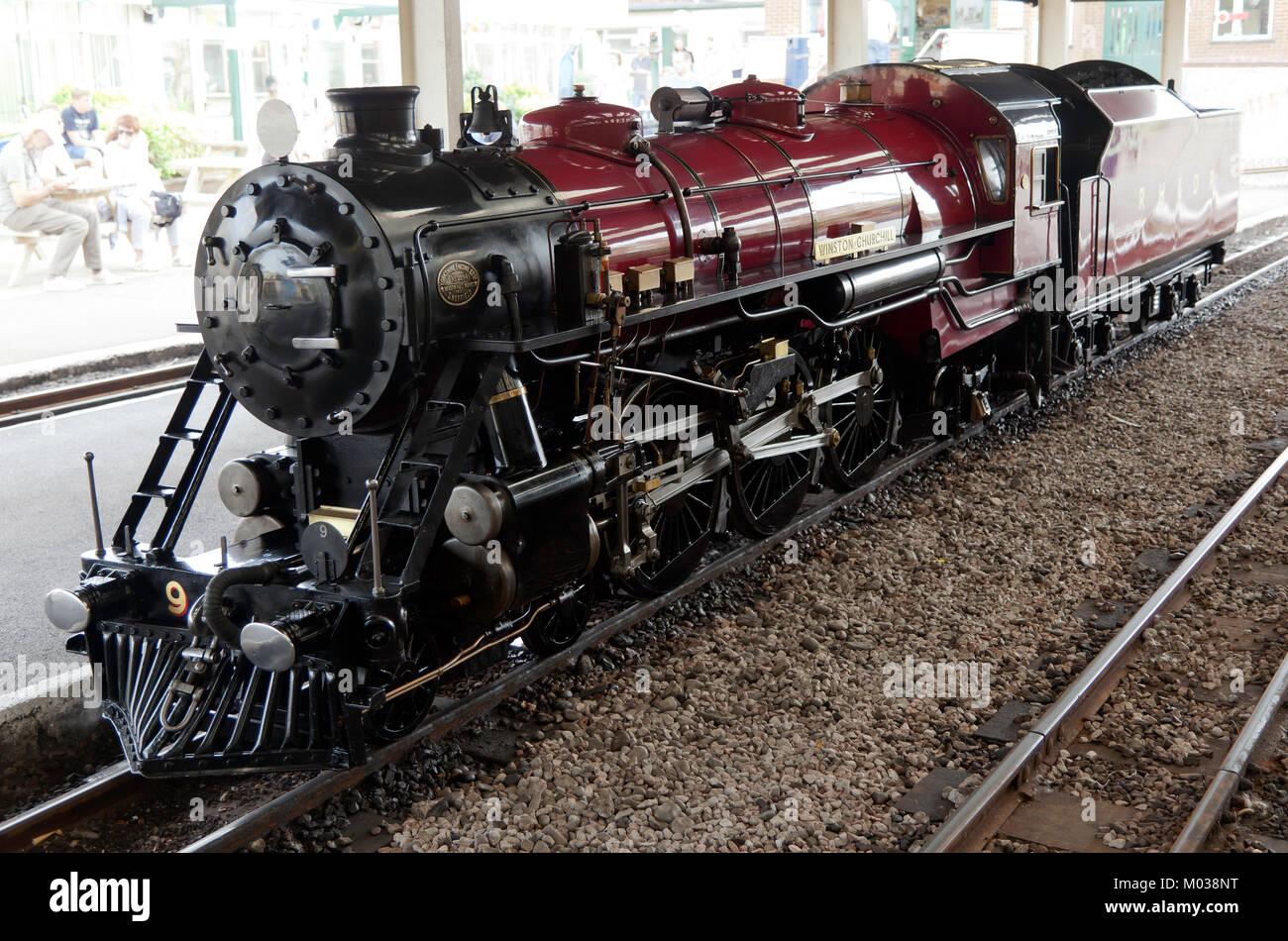 The Steam Locomotive (Engine No.9 ),  Winston Churchill, at New Romney Station, RH&D Railway, Kent Stock Photo