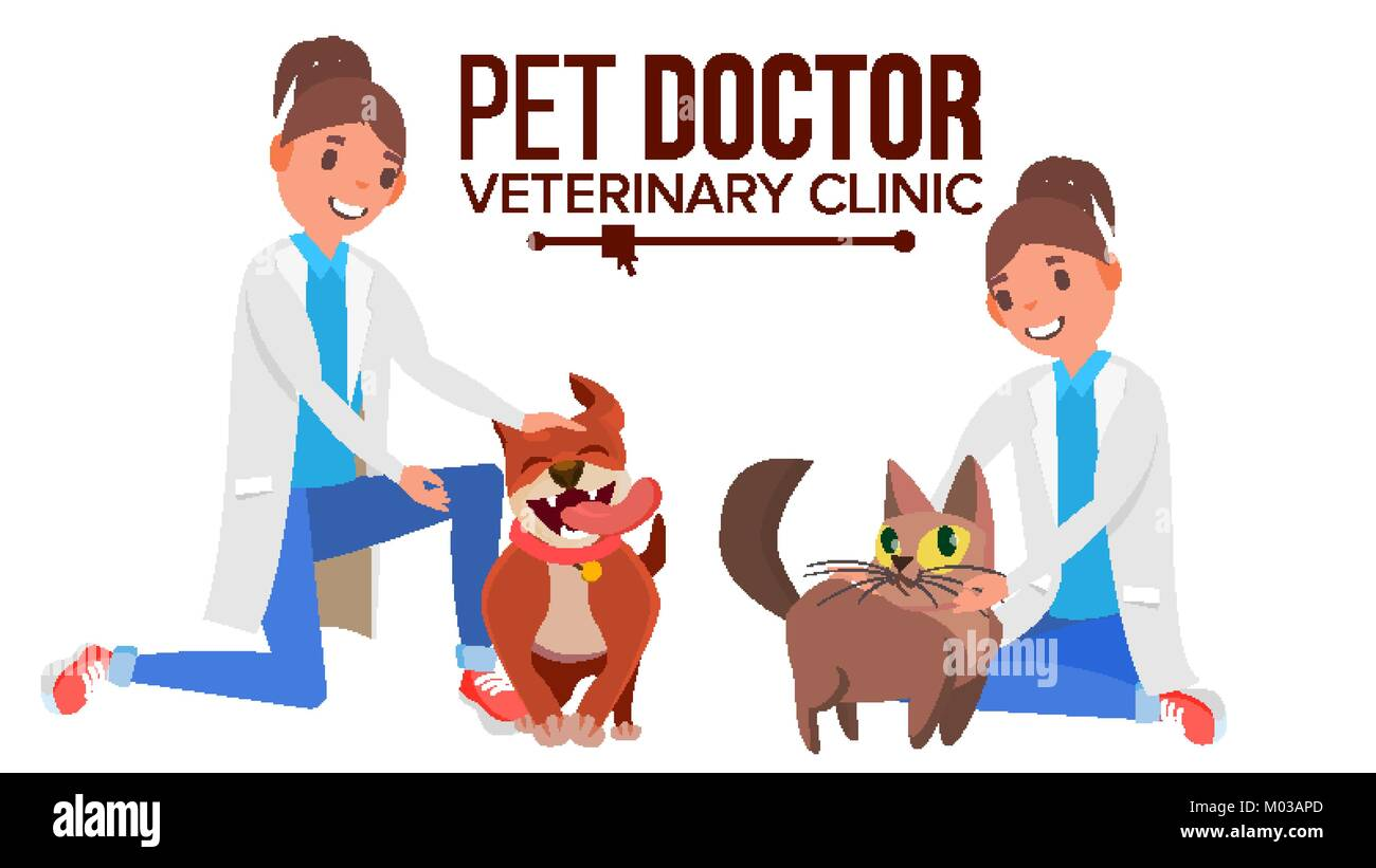 Veterinarian Woman Vector. Dog And Cat. Clinic For Animals. Pet Doctor, Nurse. Treatment For Wild, Domestic Animals. - Stock Vector