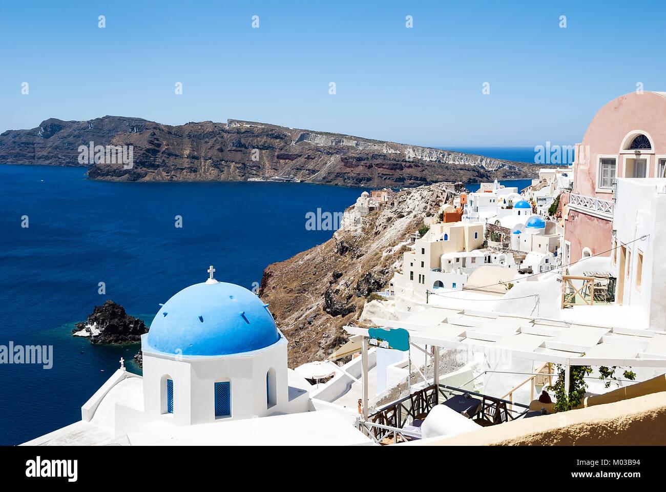Blue Roof Church On Santorini Island In Greece Stock Photo Alamy
