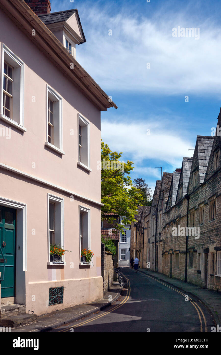 Cirencester, UK - 21st May 2014: Quaint and historic buildings line the streets in the older parts of Cirencester, - Stock Image