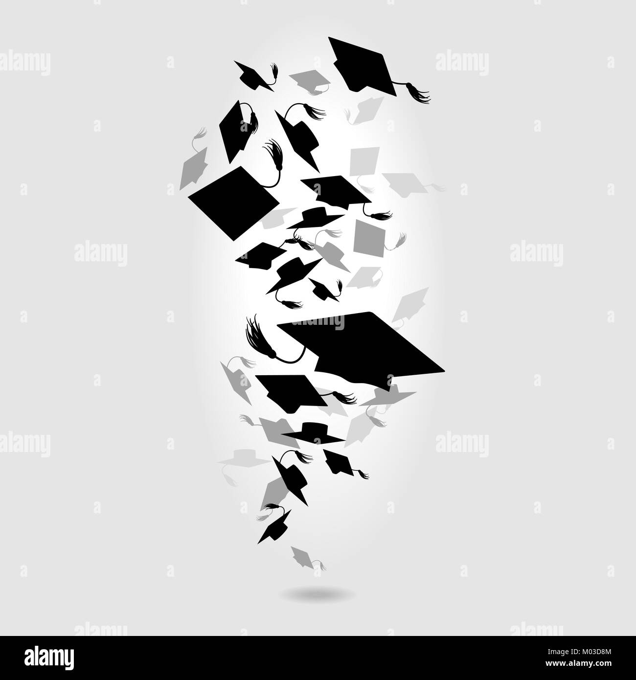 Caps graduates whirlwind on a gray background - Stock Image