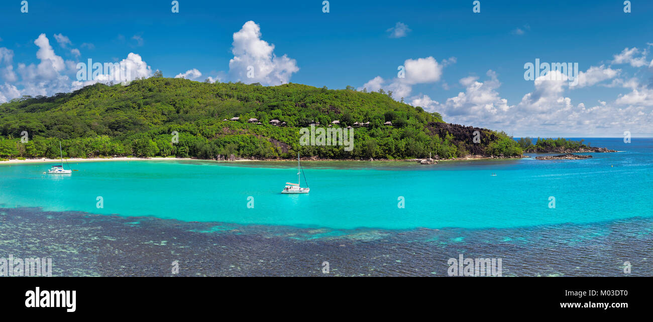 Panoramic view on tropical island. - Stock Image
