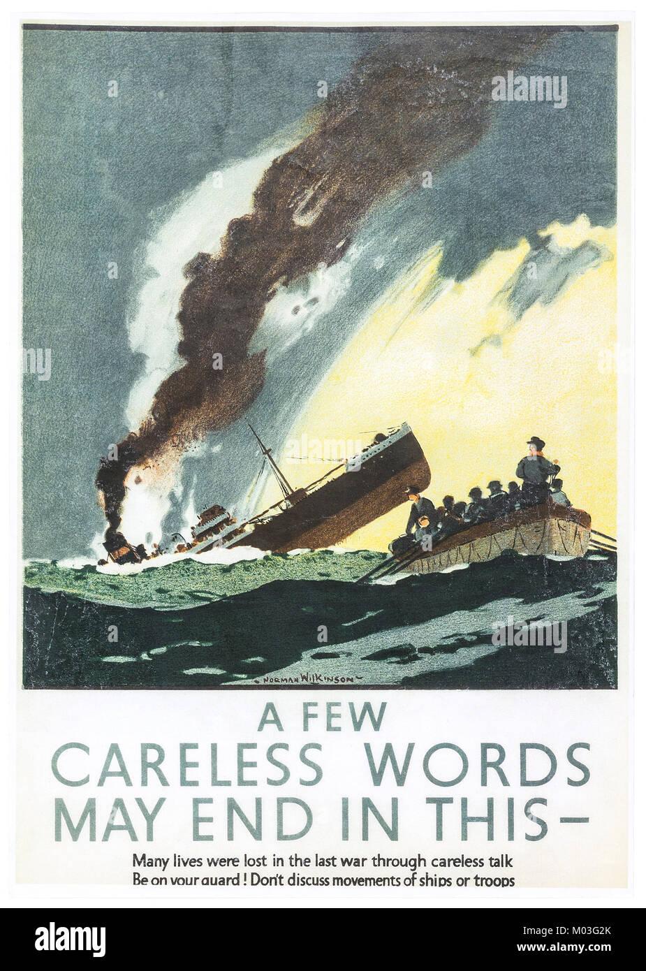 British World War II propaganda poster - Stock Image