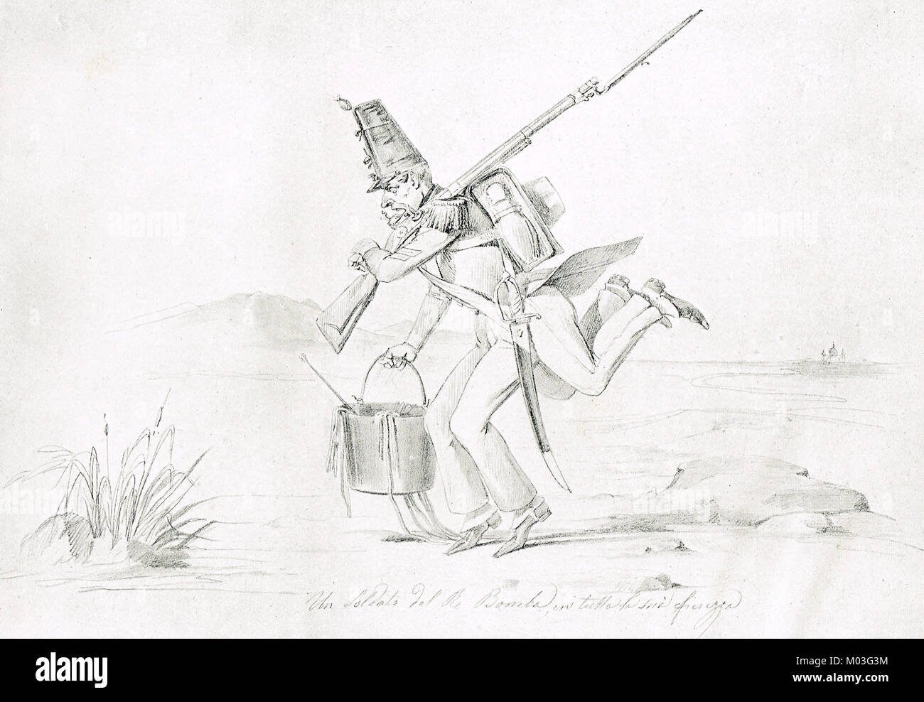 Caricature of a Neapolitan soldier, May 1849, after Palestrina and Velletri campaigns, fleeing after victory by - Stock Image