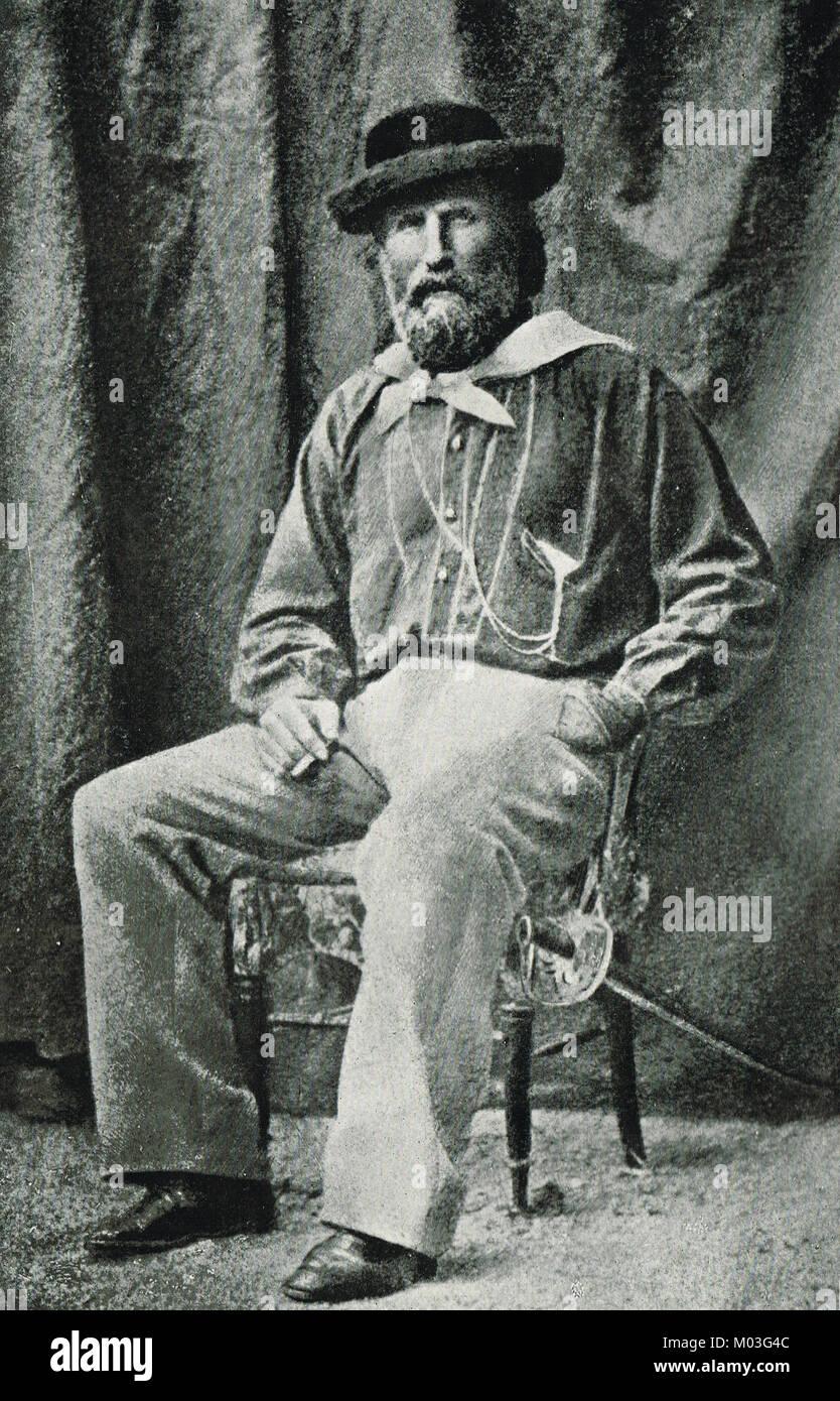 Giuseppe Garibaldi seated, circa 1859, Italian general, politician and nationalist - Stock Image