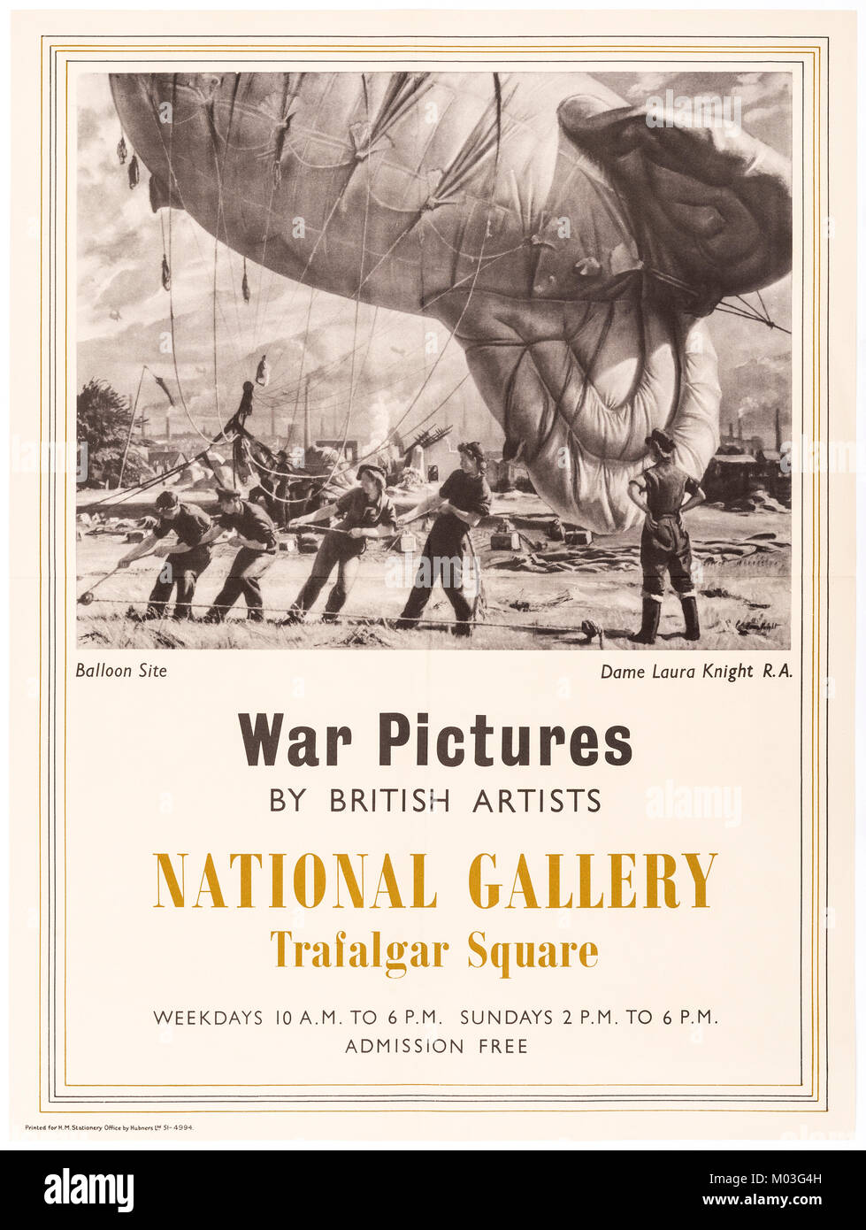 World War II poster for War Pictures exhibition at The National Gallery, London - Stock Image