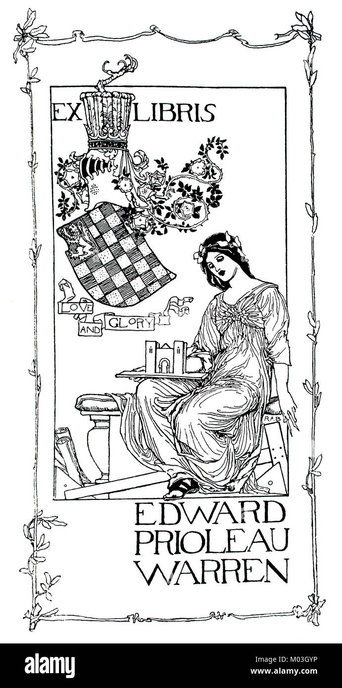 Ex Libris library bookplate for Edward Warren by R Anning Bell, line illustration from 1893 The Studio an Illustrated - Stock Image