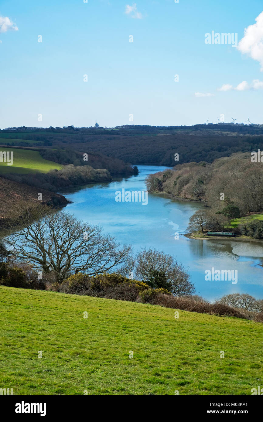 the helford river near constantine in cornwall, england, uk. Stock Photo