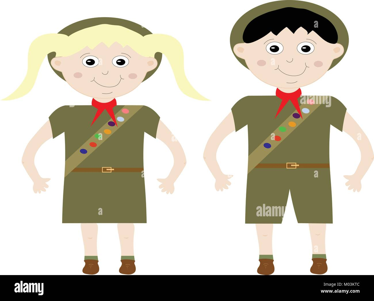 Illustrated boy and girl scout in unitorm with merit badge sash and hat on white. - Stock Vector
