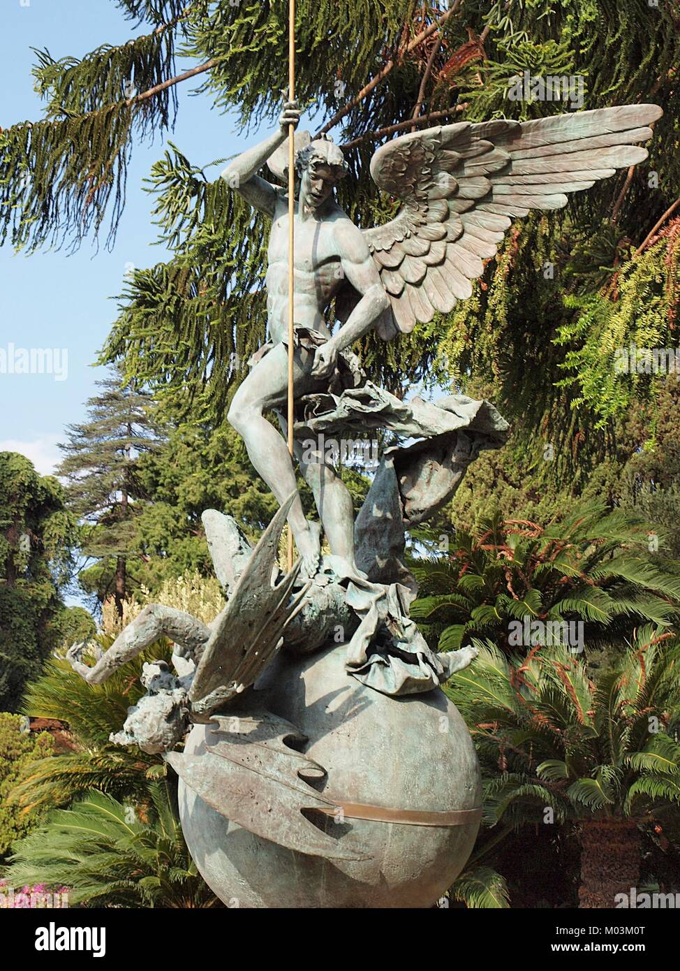 Angel statue in the Vatican gardens in Rome - Stock Image