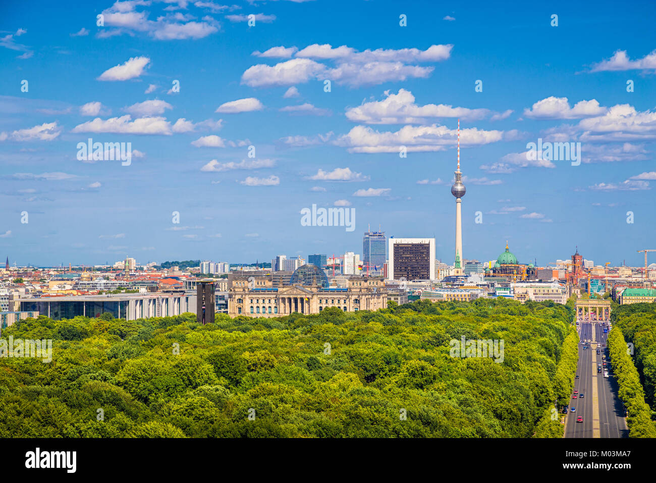 Aerial view of Berlin skyline panorama with Grosser Tiergarten public park on a sunny day with blue sky and clouds - Stock Image