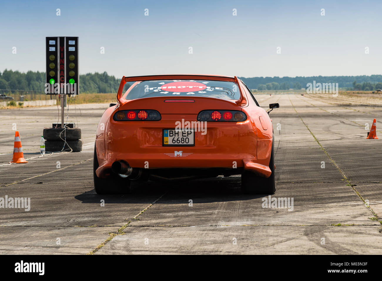 Vinnytsia,Ukraine-July 26, 2015: Drag racing car brand Toyota Supra ...