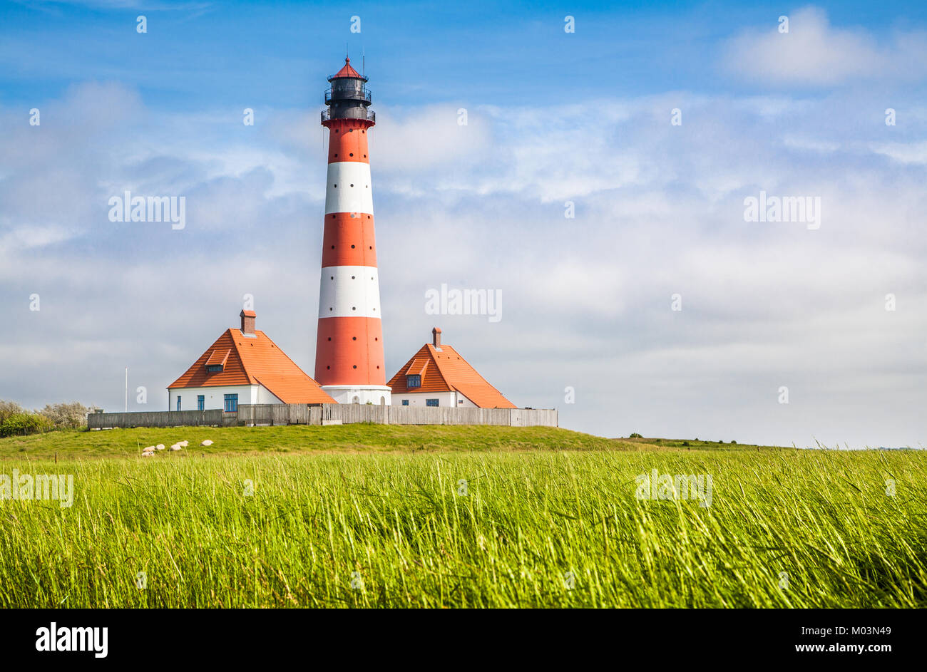 Beautiful coastal landscape with traditional lighthouse in the background at North Sea in Nordfriesland, Schleswig - Stock Image