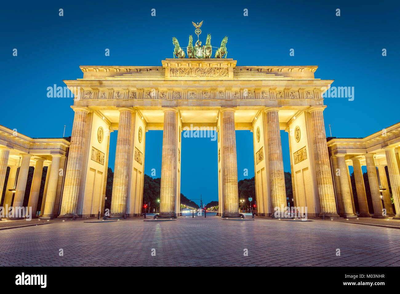 Classic view of famous Brandenburger Tor (Brandenburg Gate), one of the best-known landmarks and national symbols Stock Photo