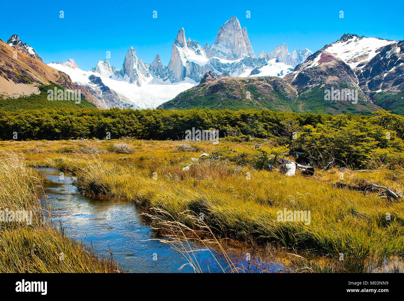 Beautiful landscape with Mt Fitz Roy in Los Glaciares National Park, Patagonia, Argentina, South America - Stock Image