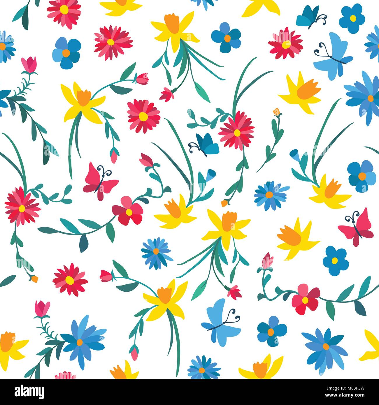 Seamless Floral Pattern With Colorful Flowers And Butterflies