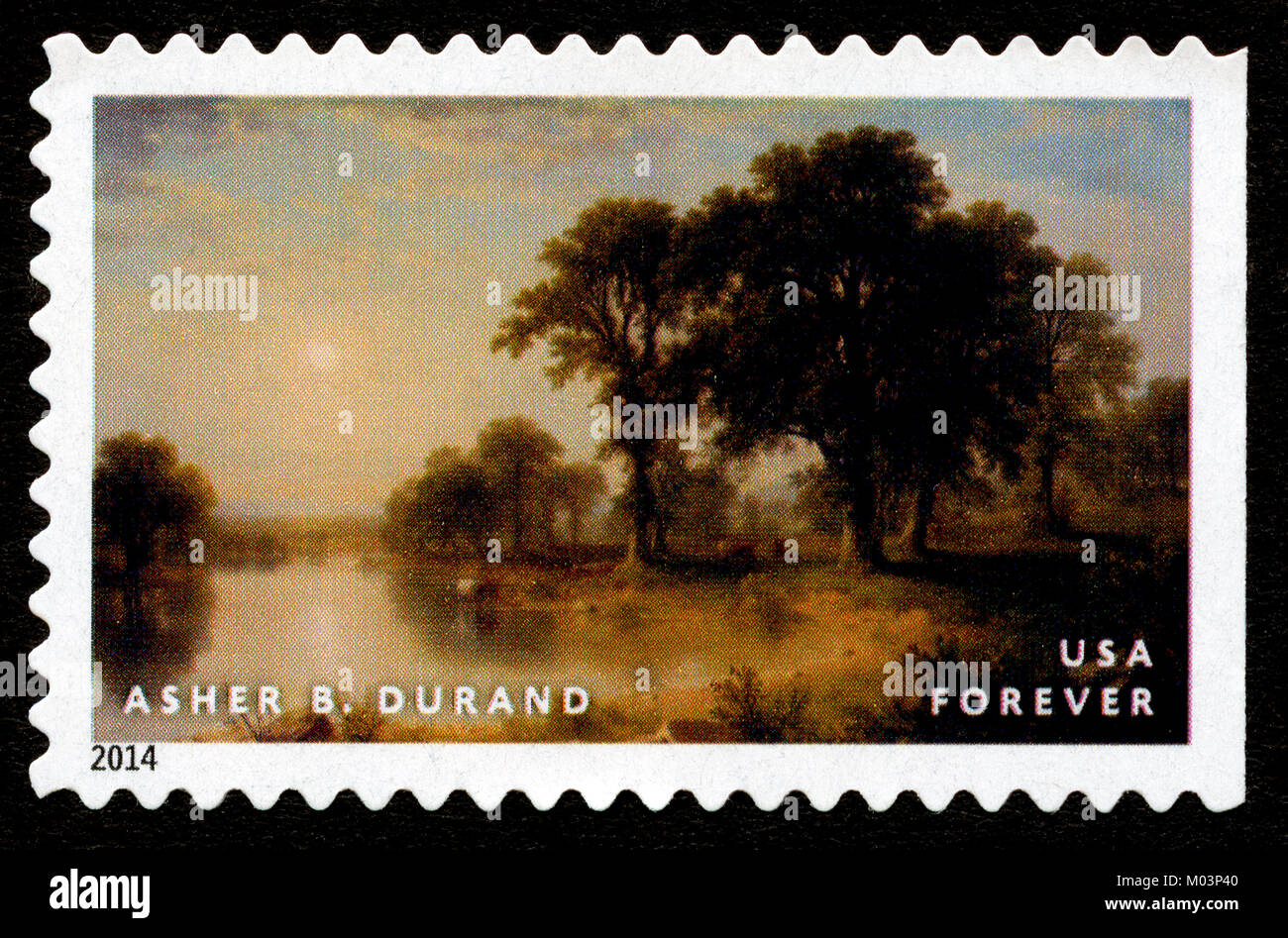 Newly-released US stamp depicting Hudson River School painting by Asher B. Durand - Stock Image
